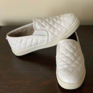 Mowing White Slip Ons